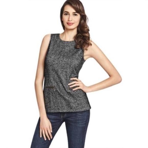 CAbi Tops - NWOT Cabi sleeveless gray tweed zipper top